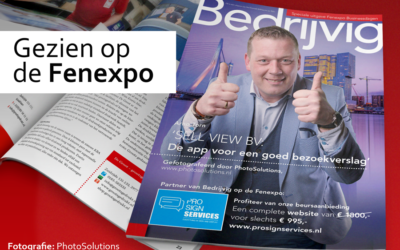 Op de cover van Bedrijvig tijdens de FenExpo