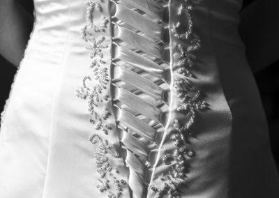 Details van de bruidsjurk